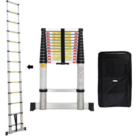 Échelle Pliable, Echelle Telescopique, 3,8 mètre(s), Barre stabilisatrice, Sac de transport OFFERT, EN 131, Charge maximale: 150 kg