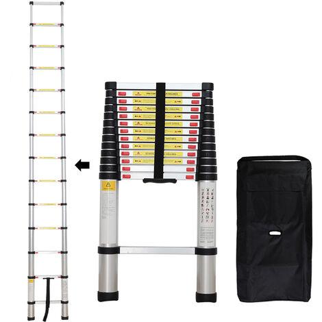 Échelle Pliable, Echelle Telescopique, 4,1 mètre(s), Sac de transport OFFERT, EN 131, Charge maximale: 150 kg