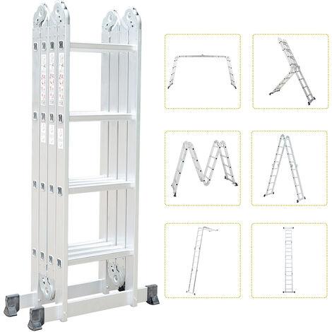 Échelle Pliante, Echelle multifonction, de 1,25 à 4,78 m, 6 en 1, EN 131, Taille déployée: 478 x 35 x 6,5 cm