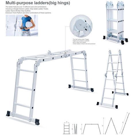 Échelle pliante multifonctionnelle avec deux plaques de fer 3,7 mètres style 4 * 3 étapes