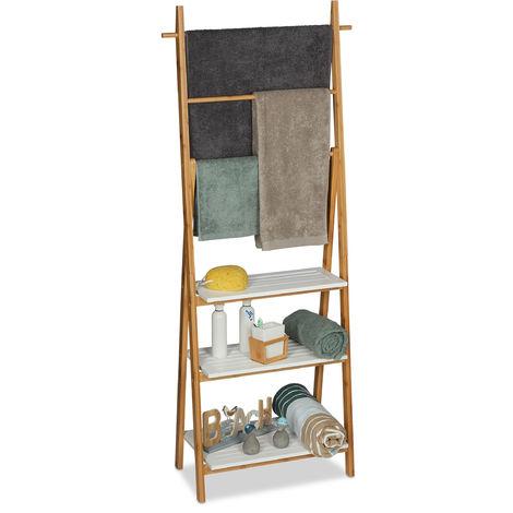Échelle Porte-serviettes, 3 barres, surface rangement, étagère, bambou, MDF, 150x50x30cm, nature blanc