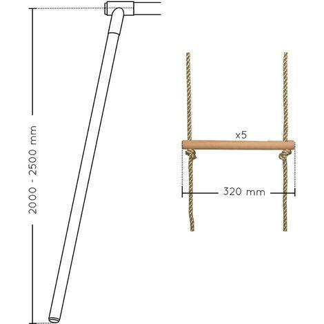 Echelle pour portique 5 barreaux bois et corde (agrès) - Soulet