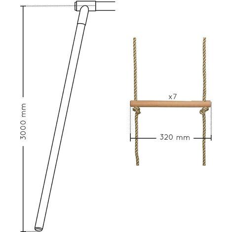 Echelle pour portique 7 barreaux bois et corde (agrès) - Soulet