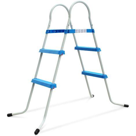 Echelle symétrique hors sol 2 marches pour piscine d'une hauteur de 84cm max., accessoire piscine