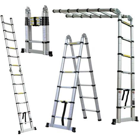 """main image of """"Échelle Telescopique 3.8 mètres(1.9m+1.9m) , Échelle Pliable en Aluminium"""""""