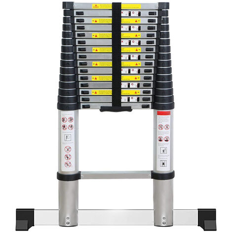 Echelle Télescopique 4.7M en Aluminium avec 14 Echelons,2 Pieds Antidérapants,Charge Max 150KG,95CM-470CM pour Intérieur Extérieur