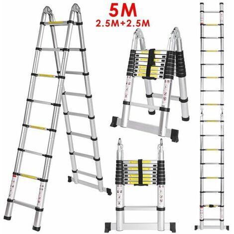 """main image of """"Échelle Télescopique 5M (2,5M + 2,5M) Portable Pliante Échelle Escabeau En Aluminium 16 Echelons Charge max 150 kg"""""""