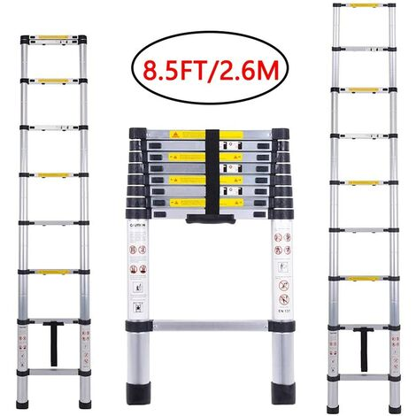 Echelle Telescopique, Échelle Pliable, 2,6 Mètre(s), EN 131, Sac de Transport OFFERT, Charge Maximale: 150 kg