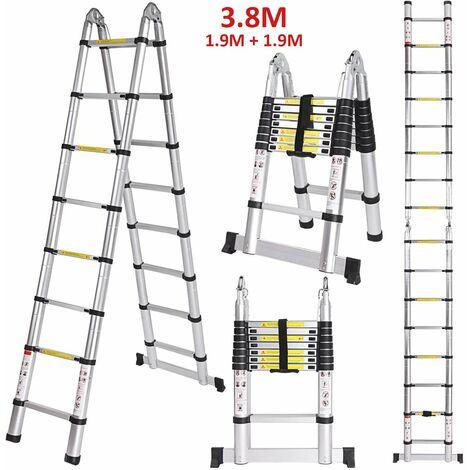 Echelle Telescopique, Échelle Pliable, 3.8 mètre(s) - Argent