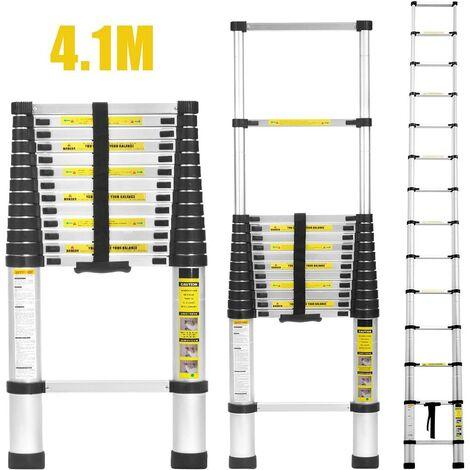 Echelle Telescopique, Échelle Pliable, 4,1 Mètre(s), Barre Stabilisatrice, EN 131-6, Sac de Transport OFFERT, Écart Supplémentaire, Charge Maximale: 150 kg