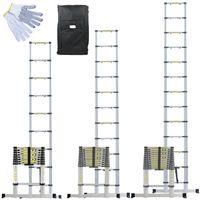 Échelle Télescopique Pro en Aluminium + Housse de Transport et gants de maintien - Linxor