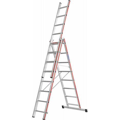 Echelles 3 plans - 3x10 barreaux AH 7,44m