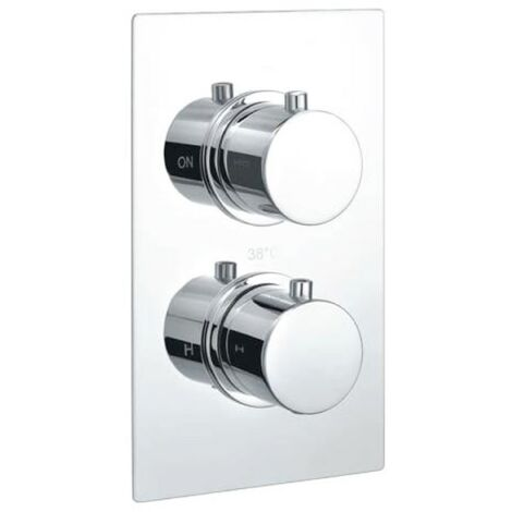 Echo Round Chrome Twin Thermostatic Concealed Shower Valve with Diverter (TMV2)