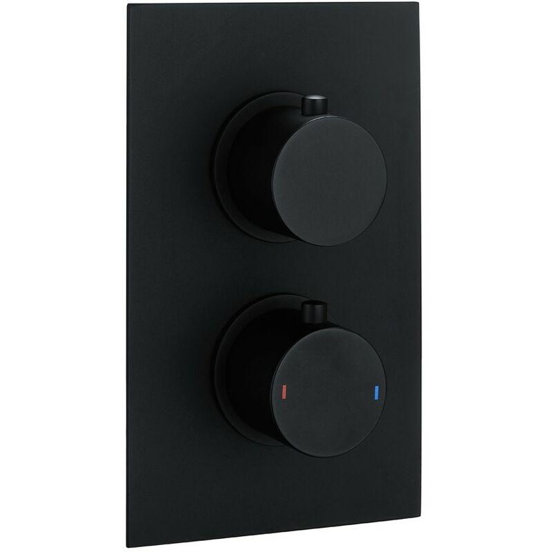 Wentworth Bathrooms - Echo Round Matt Black Twin Thermostatic Concealed Shower Valve with Diverter (TMV2)
