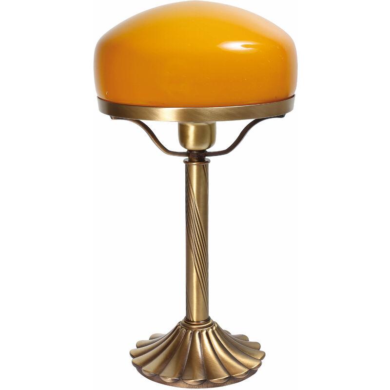 Echte Messing Tischleuchte Orange Glas Schirm Pilzlampe