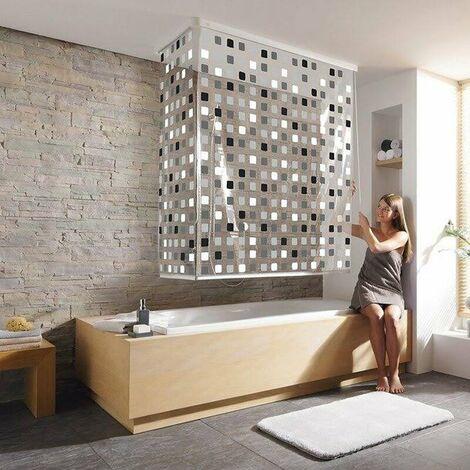 Eck Duschrollo incl. 2 Rollos und 2 Kassetten - Duschvorhang Kassetten Duschrollo - Ecke Links und Rechts montierbar von KLEINE WOLKE - Design Mosaik Grau
