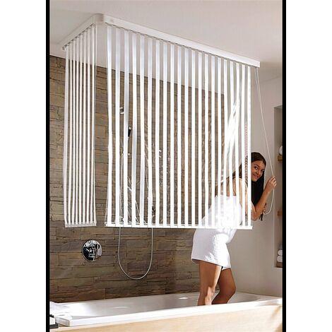 Eck Duschrollo incl. 2 Rollos und 2 Kassetten - Duschvorhang Kassetten Duschrollo - Ecke Links und Rechts montierbar von KLEINE WOLKE - Design Streifen weiß