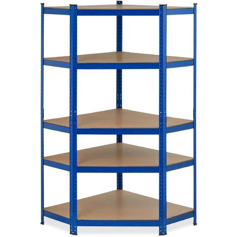 Eck Schwerlastregal, verzinkt, Traglast 875 kg, 181x128x92 cm, 5 Böden, zum Stecken, Stahl Eckregal, blau