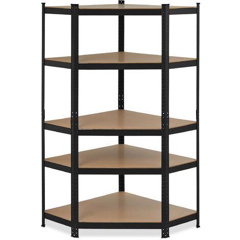 Eck Schwerlastregal, verzinkt, Traglast 875 kg, 181x128x92 cm, 5 Böden, zum Stecken, Stahl Eckregal, schwarz