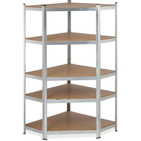 Eck Schwerlastregal, verzinkt, Traglast 875 kg, 181x128x92 cm, 5 Böden, zum Stecken, Stahl Eckregal, silber