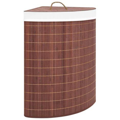 Eck-Wäschekorb Bambus Braun 60 L