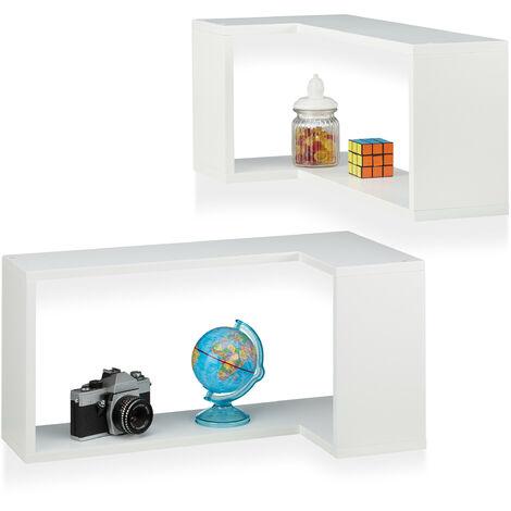 Eck Wandregal, 2er Set, Freischwebend, Dekorativ, Zum Aufhängen, Kinderzimmer, Modernes Design, MDF, Weiß