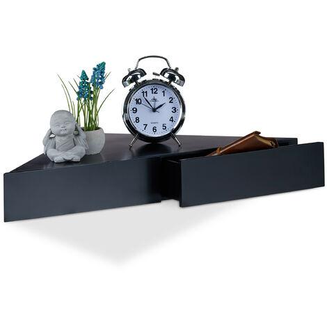 Eck Wandregal, Dreieckige Ablage, 2 Schubladen, Unsichtbare Befestigung, Dekorativ, MDF, 8x60x30cm, Schwarz