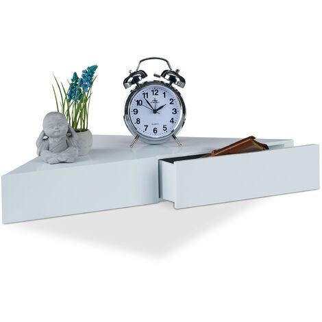 Eck Wandregal, Dreieckige Ablage, 2 Schubladen, Unsichtbare Befestigung, Dekorativ, MDF, HBT: 8x60x30cm, Weiß