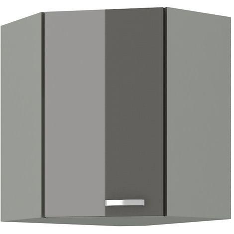 Eckhängeschrank 58x58 cm Grey Hochglanz Grau Küchenzeile Küchenblock Küche Vario