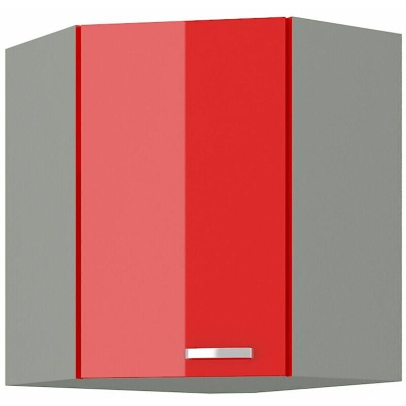 Eckhängeschrank 58x58 Hochglanz Rot + Grau Küchenzeile Küchenblock Rose Bianca - KÜCHEN PREISBOMBE