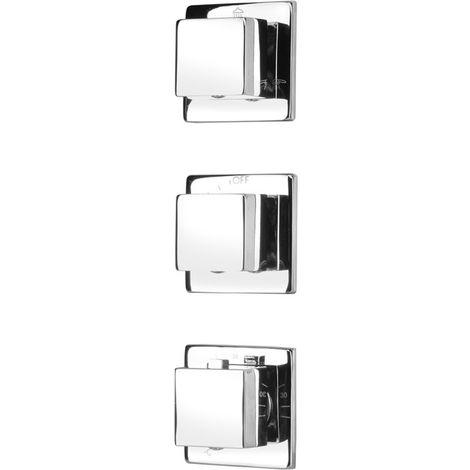 Eckige 3-Wege Unterputzarmatur Unterputz Ventil Thermostatarmatur Duscharmatur Wannenarmatur mit 3-fachem Umsteller zur Hinterwandmontage