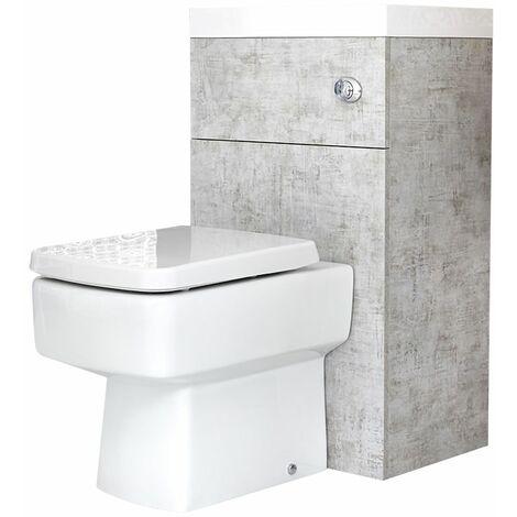 Eckige Toilette mit Spülkasten und integriertem Waschbecken Steingrau