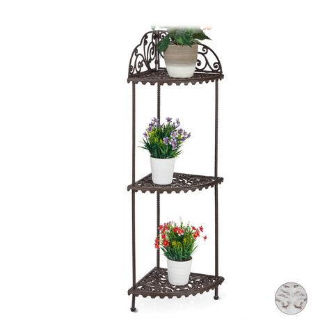Eckregal, 3 Ablagen, Pflanzen, Blumen, Deko, Gusseisen, Vintage-Design, antik, HxBxT 106 x 42 x 31 cm, braun