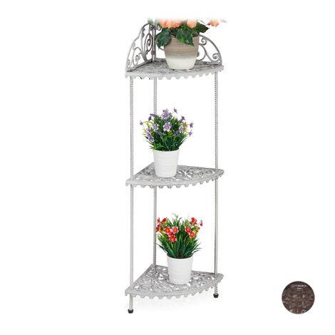 Eckregal, 3 Ablagen, Pflanzen, Blumen, Deko, Gusseisen, Vintage-Design, antik, HxBxT 106 x 42 x 31 cm, weiß