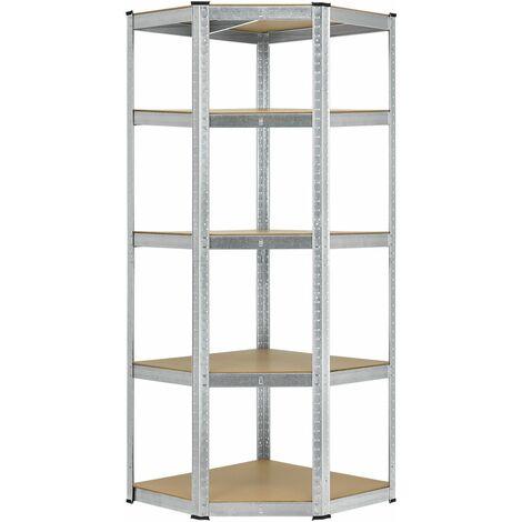 Eckregal Lageregal Corner Basic 180 x 70 x 40-70 cm | 875 kg | 5 Böden | Metall verzinkt | Schwerlastregal Steckregal Kellerregal | Juskys