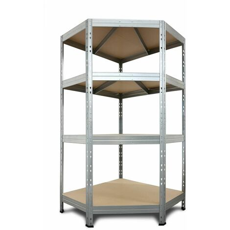 Eckregal Metall-Steckregal RIVET, verzinktes 180x90x45x64,5cm, 4 Fachböden, 250kg