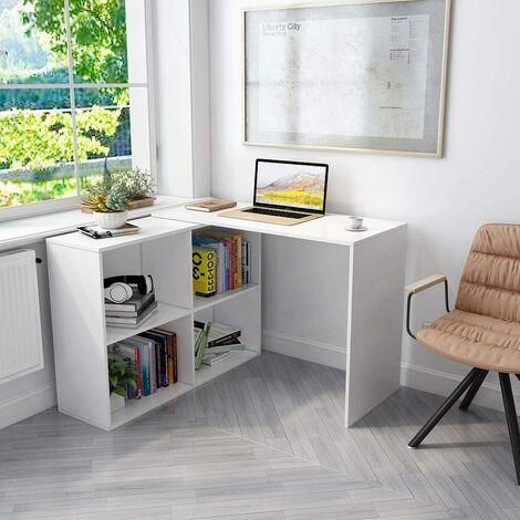 Eckschreibtisch, Computertisch L-Förmig mit 4 Ablagen Großer Umkehrbarer Winkel Links/Richtig 106 x 106 x 74,5cm fürs Arbeitszimmer Wohnzimmer Büro,Weiß-Mondeer