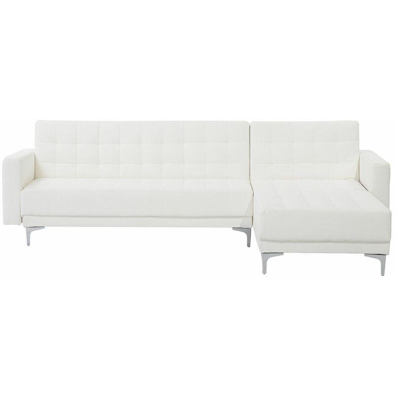 Ecksofa Weiß Kunstleder L-Förmig Linksseitig Schalffunktion Klassisch Wohnzimmer - BELIANI
