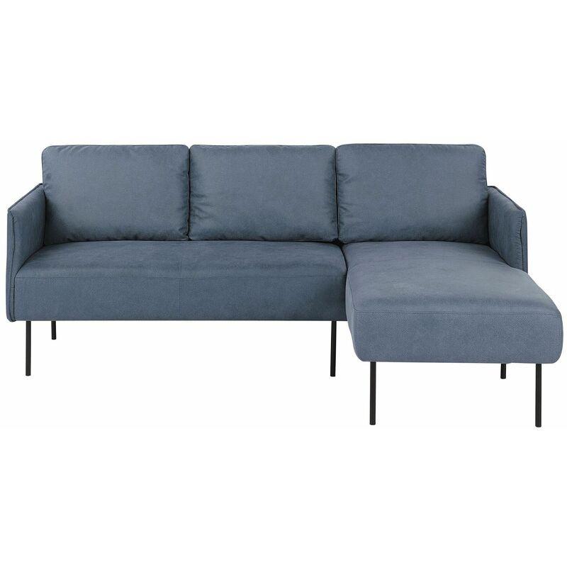 Beliani - Ecksofa Blau Polsterbezug mit Chaiselongue linksseitig 3-Sitzer Sofa Wohnzimmer Schlafzimmer Esszimmer Flur