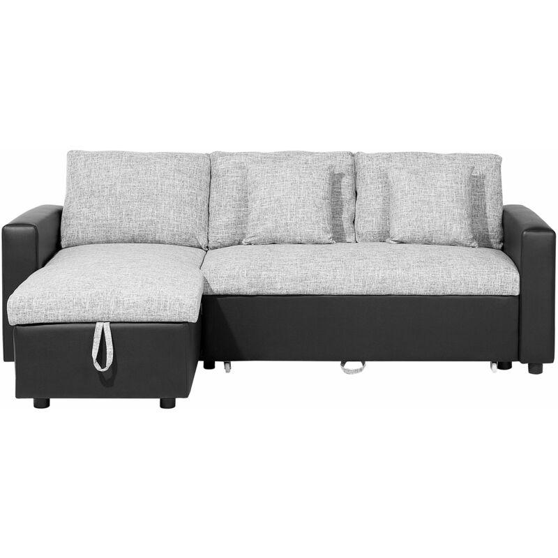Beliani - Ecksofa Schwarz Grau Polsterbezug L-Förmig Rechtsseitig Schlaffunktion Traditionell Modern Wohnzimmer