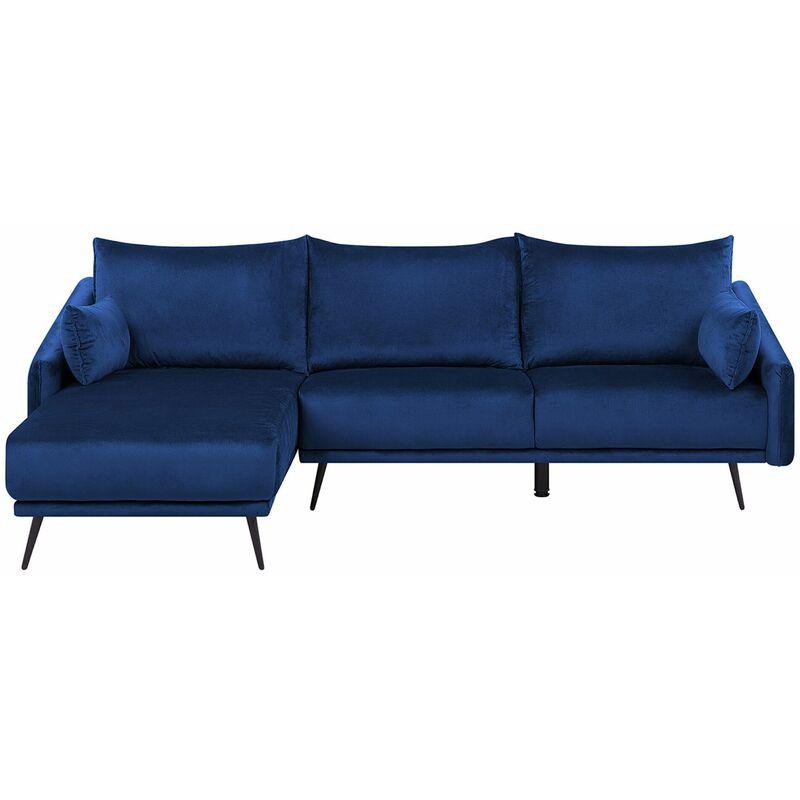Ecksofa Dunkelblau Samtstoff 3-Sitzer L-Förmig Rechtsseitig Glamourös Wohnzimmer