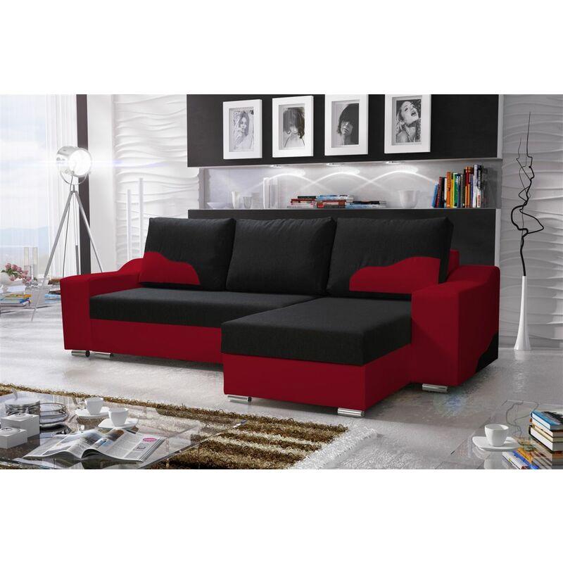 Ecksofa Sofa COLLIN mit Schlaffunktion Rot / Schwarz Ottomane Rechts - FUN MOEBEL