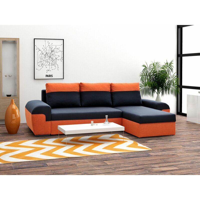Ecksofa Sofa PAROS mit Schlaffunktion Orange-Schwarz Ottomane Rechts - FUN MOEBEL