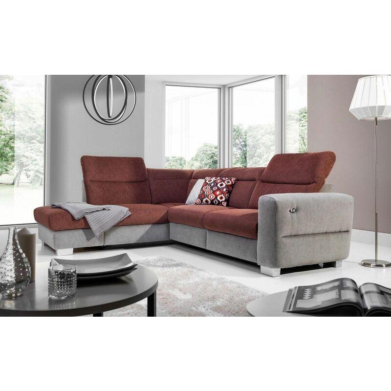 Fun Moebel - Ecksofa Sofa RELAX Polyesterstoff Grau/ Braun Ottomane Links