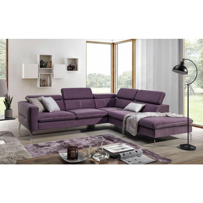 Ecksofa Sofa REZA Polyesterstoff Violett Ottomane Rechts - FUN MOEBEL