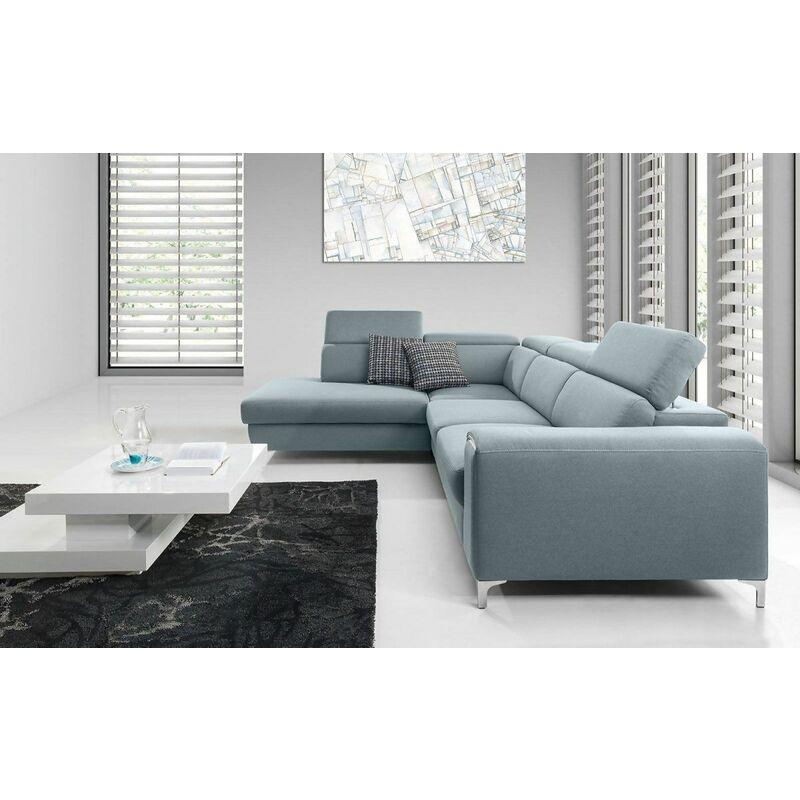 Ecksofa Sofa STELLA XL mit Schlaffunktion Mintgrün Ottomane Links - FUN MOEBEL