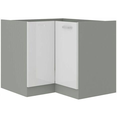 Eckunterschrank 89x89 Bianca Weiß Hochglanz + Grau Küchenzeile Küchenblock Vario