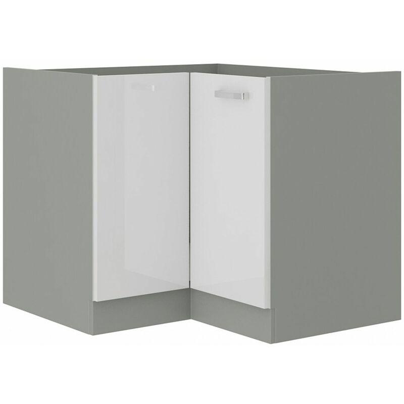 Eckunterschrank 89x89 Bianca Weiß Hochglanz + Grau Küchenzeile Küchenblock - KÜCHEN PREISBOMBE