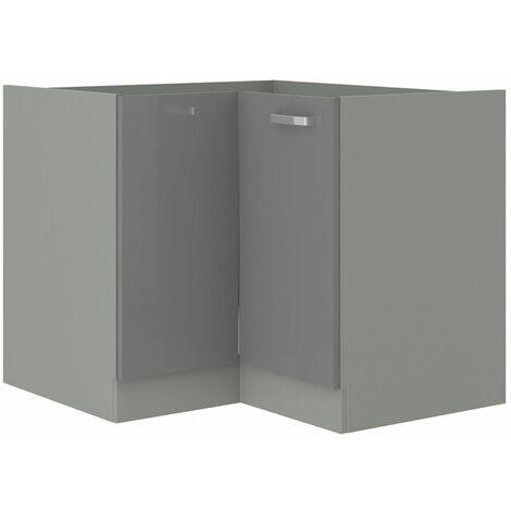 Eckunterschrank 89x89 cm Grey Hochglanz Grau Küchenzeile Küchenblock Küche Vario