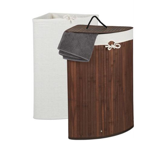Eckwäschekorb Bambus, faltbarer Wäschesammler mit Deckel, 60 Liter, 2 Wäschesäcke, 66 x 49,5 x 37 cm, braun